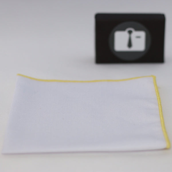 White Pocket Square With Yellow Border