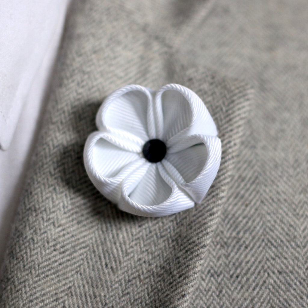 White silk ribbon lapel flower outfit toolkit white silk ribbon lapel flower dhlflorist Choice Image