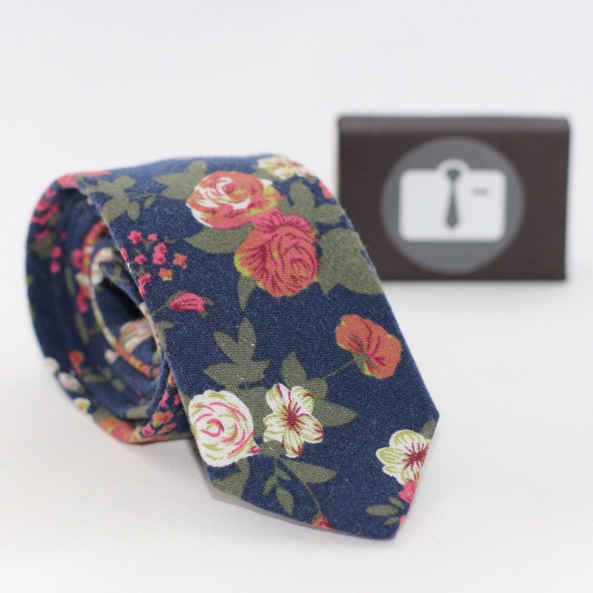 Navy Floral Tie With Vintage Bouquet Design