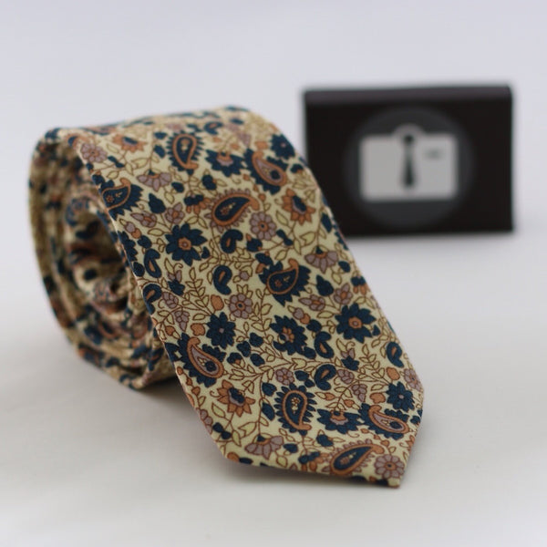 Brown Paisley Tie With Aztec Design