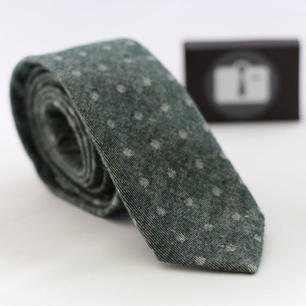 Green Tie With Grey Polka Dot Design