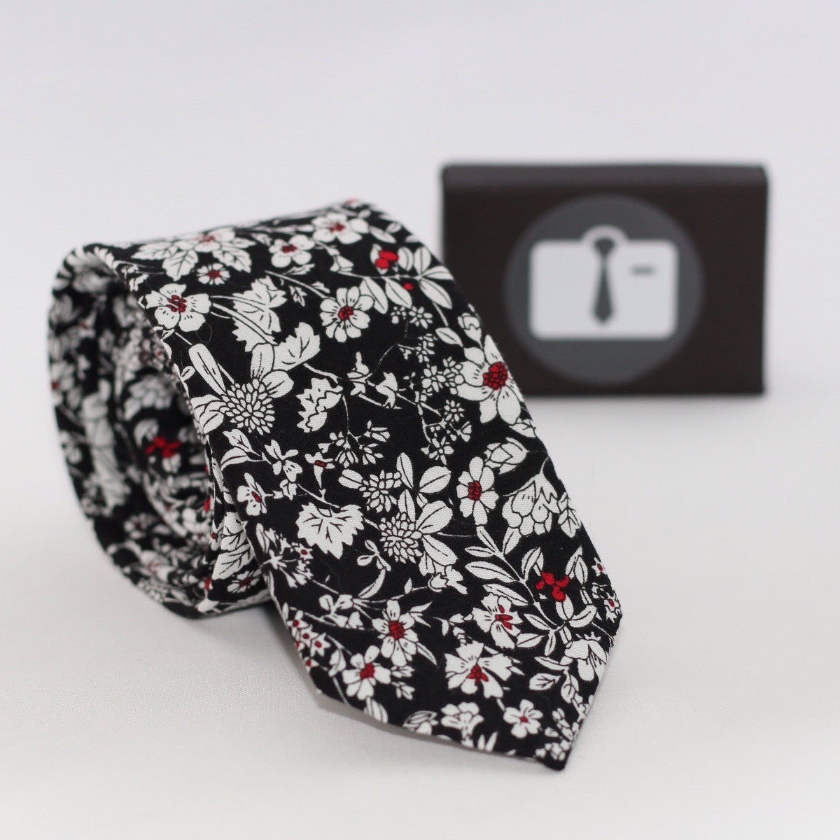 Black Floral Tie With White Botanical Design