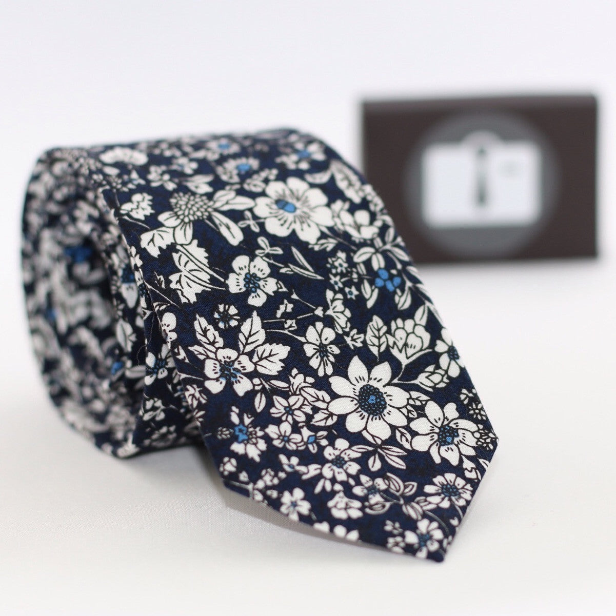 Navy Floral Tie With White Botanical Design
