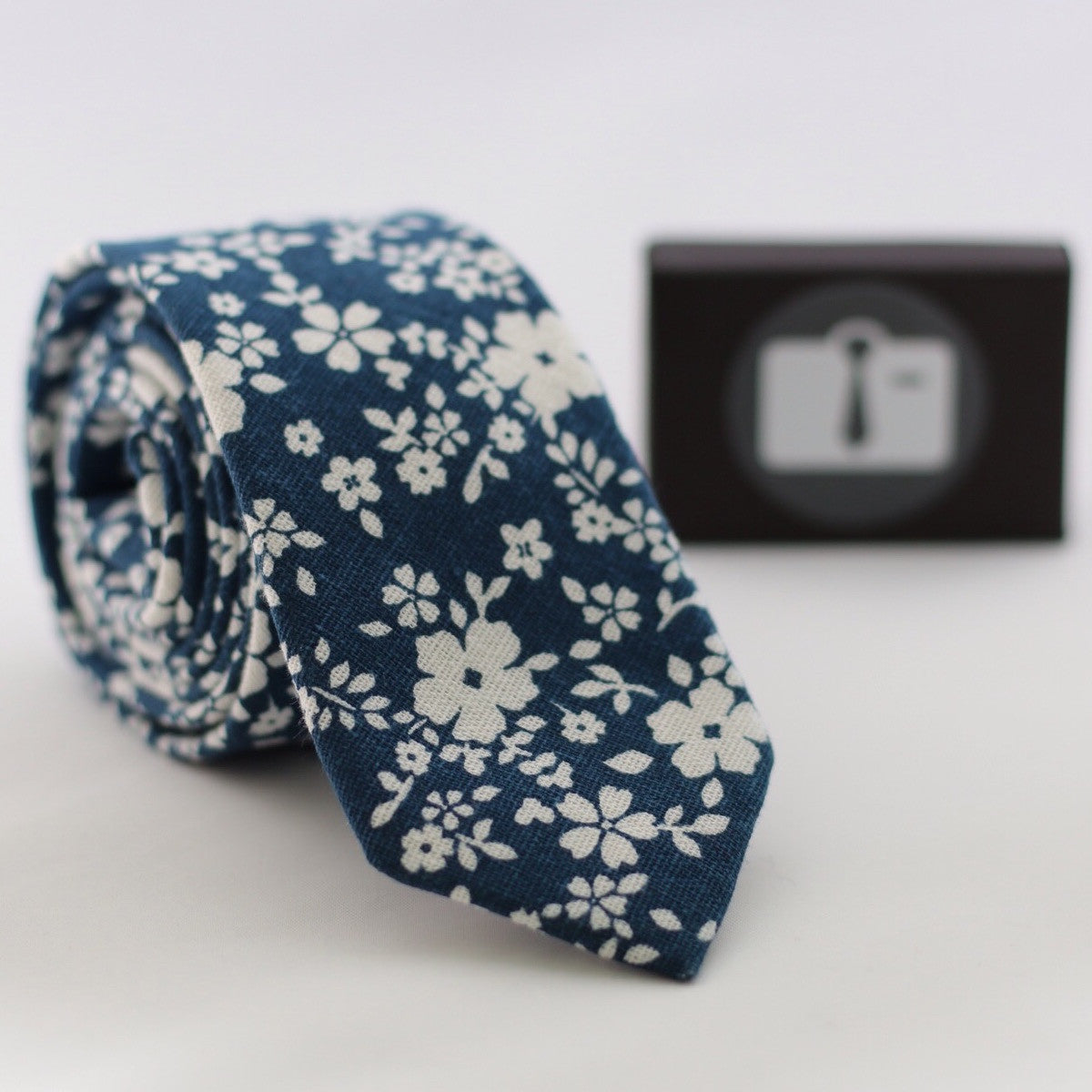 Navy Floral Tie With White Abstract Design