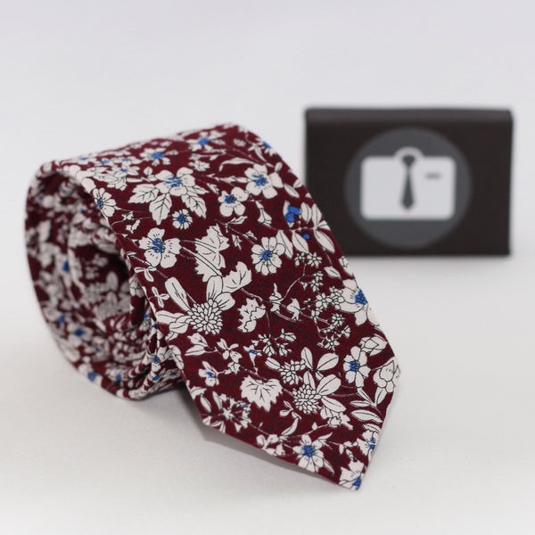 Burgundy Floral Tie With White Botanical Design