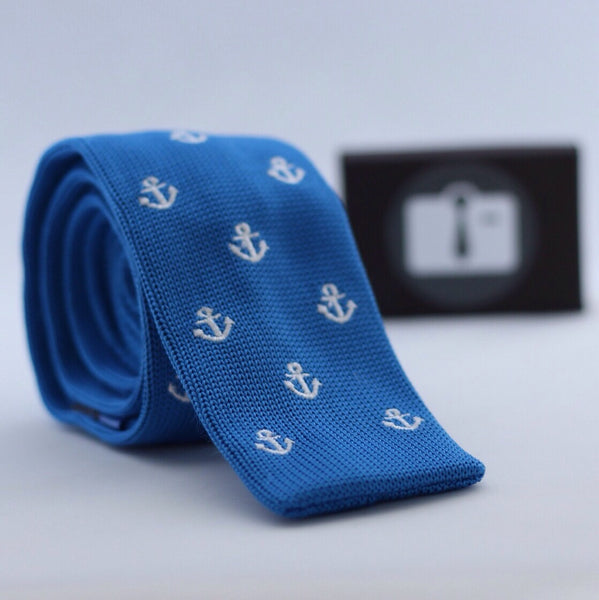 Blue Knitted Tie With White Anchor Design