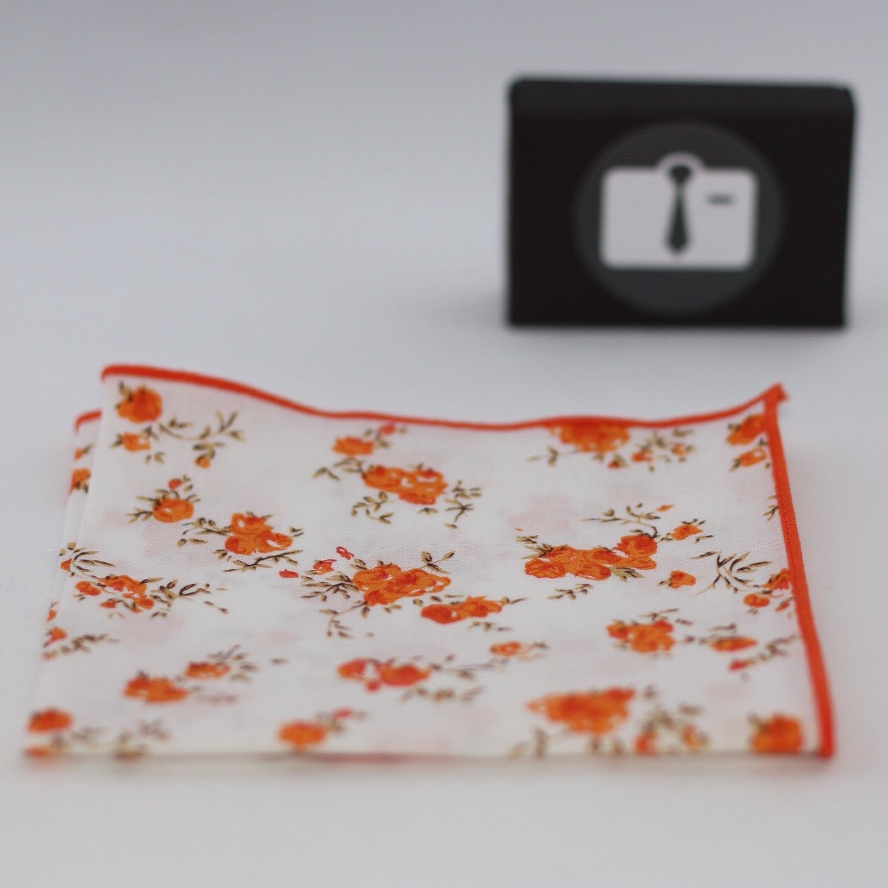 White Floral Pocket Square With Orange Blossom Design