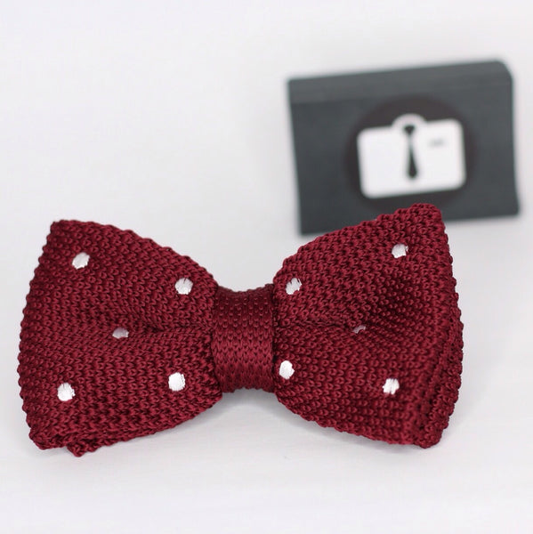 Burgundy Knitted Bow Tie With White Polka Dots