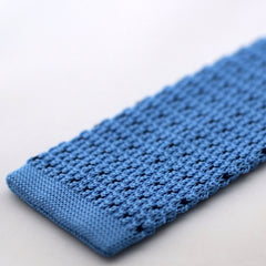 Light Blue Knitted Tie With Navy Pixel Dots