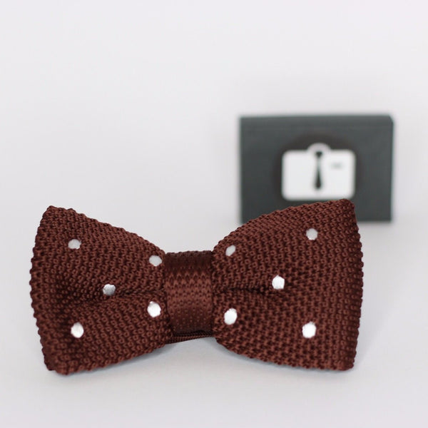 Chocolate Brown Knitted Bow Tie With White Polka Dots