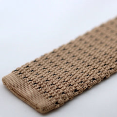Oatmeal Knitted Tie With Black Pixel Dots
