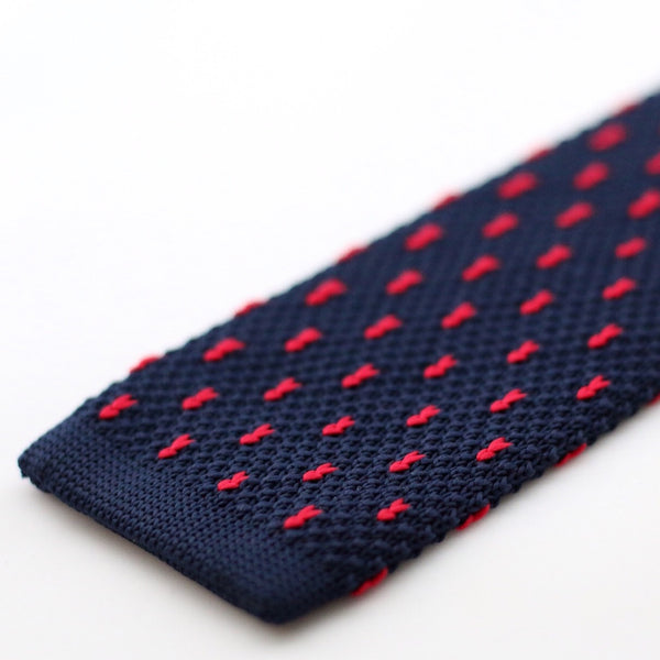 Navy Knitted Tie With Red Pixel Dots