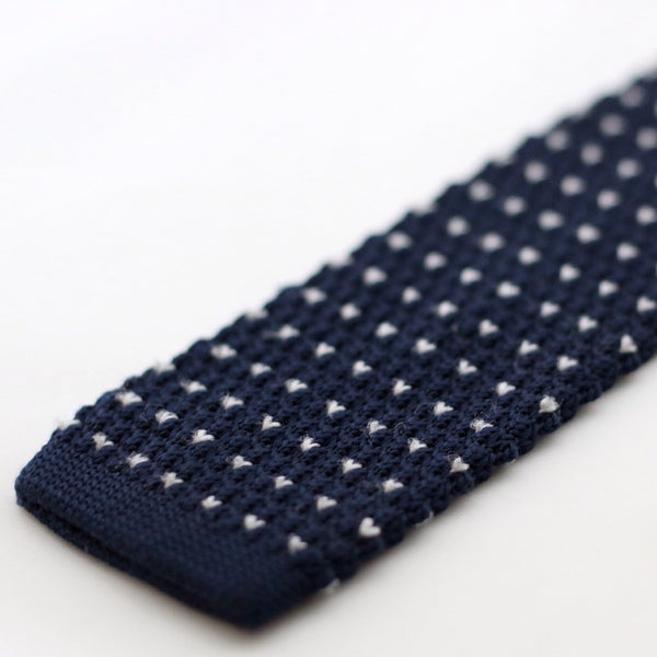 Navy Knitted Tie With White Pixel Dots