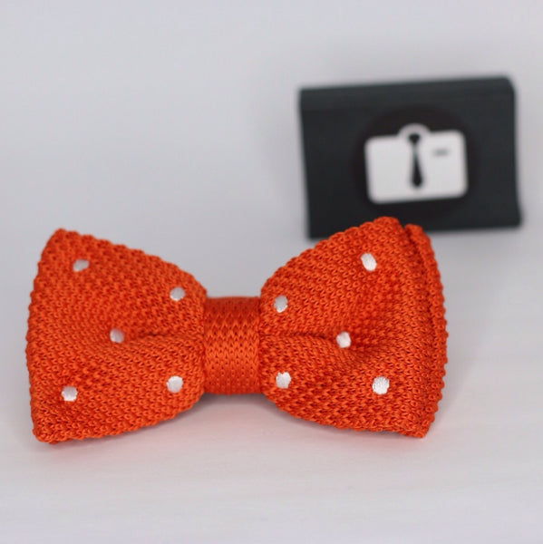 Orange Knitted Bow Tie With White Polka Dots