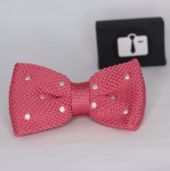 Pink Knitted Bow Tie With White Polka Dots