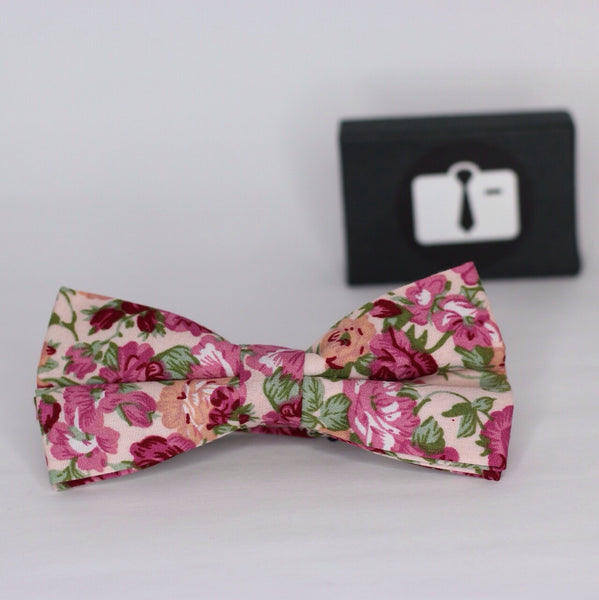 Pink Floral Bow Tie With Coral Bloom Design