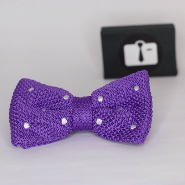Lavender Knitted Bow Tie With White Polka Dots