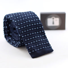 Navy Knitted Tie With Light Blue Pixel Dots