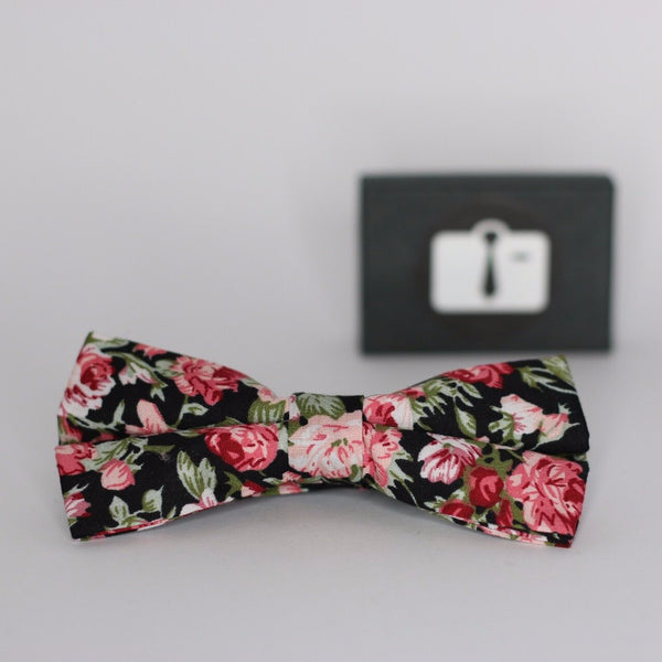 Black Floral Bow Tie With Red Bloom Design