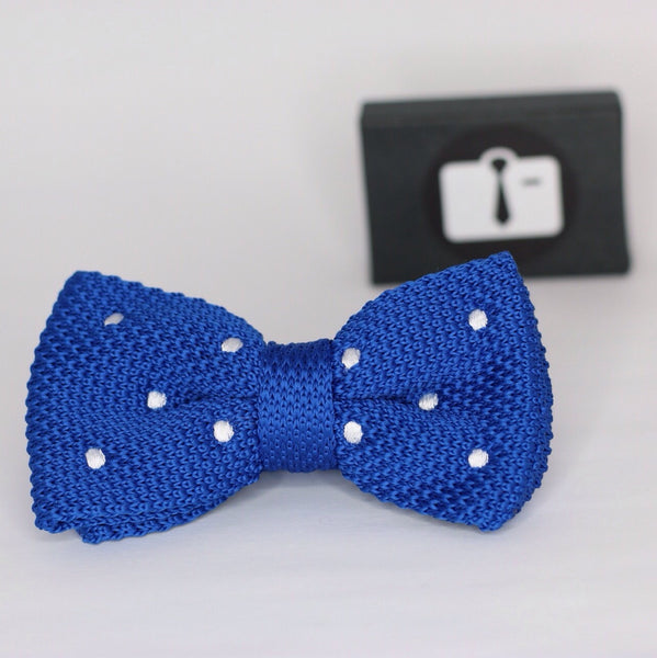 Royal Blue Knitted Bow Tie With White Polka Dots