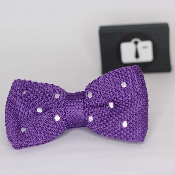 Mauve Knitted Bow Tie With White Polka Dots
