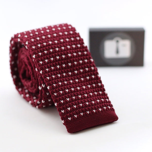 Burgundy Knitted Tie With White Pixel Dots