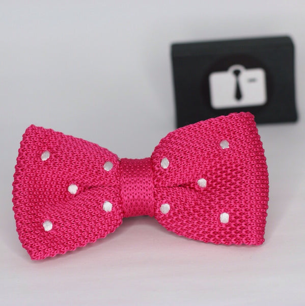 Fuchsia Knitted Bow Tie With White Polka Dots