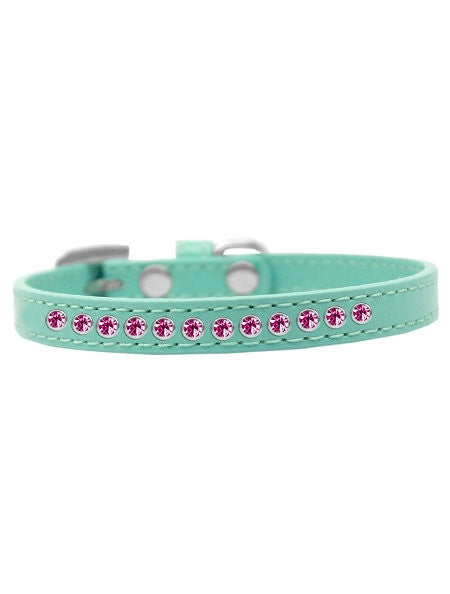 Collar For Small Dogs - Bright Pink Crystal Vegan Leather in Aqua