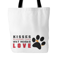 Dog Themed Tote Bag - Kisses & Wagging Tails