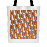Cat Themed Tote Bag - Cats In Red & Blue On Orange