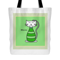 Cat Themed Tote Bag - Meow In Green