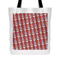 Cat Themed Tote Bag - Cats In Red & Blue On Red