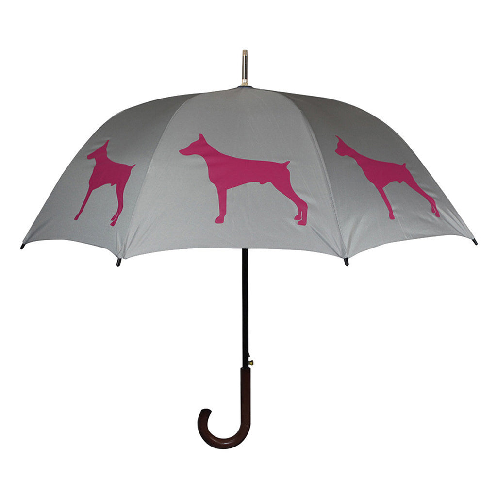 Doberman Pinscher Umbrella (Purple on Silver)