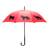 Dog Umbrella - Border Collie (Black on Red)