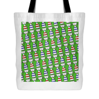 Cat Themed Tote Bag - Cats In Red & Blue On Green