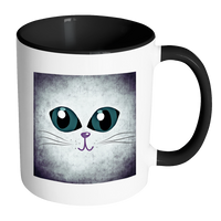 Cat Themed Mug - Big Eyes Cat Face In Purple & Blue (7 Colors)
