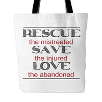 Dog Themed Tote Bag - Rescue Save Love
