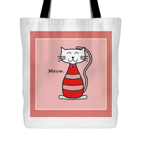 Cat Themed Tote Bag - Meow In Red
