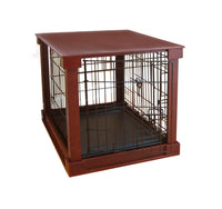Dog Crate with Wooden Cover - Brown - FurMinded