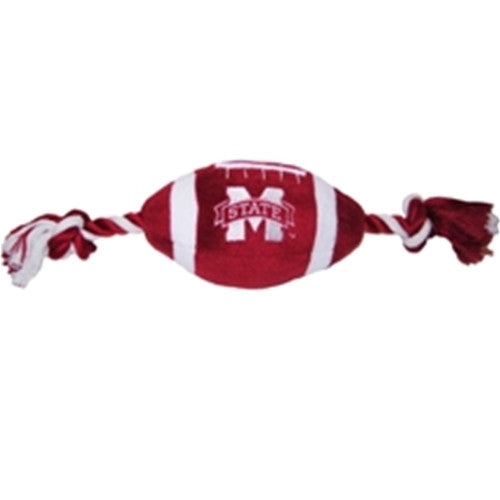 Mississippi State Bulldogs Plush Football Dog Toy - FurMinded