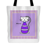 Cat Themed Tote Bag - Meow In Purple