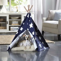 Pet Teepee - Blue with White Stars - FurMinded