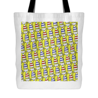 Cat Themed Tote Bag - Cats In Red & Blue On Yellow