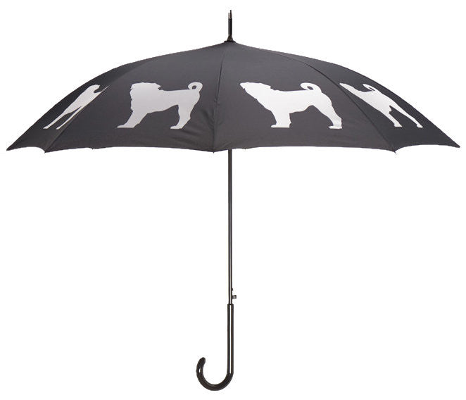Dog Umbrella - Pug (White on Black) - FurMinded