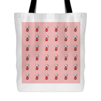 Cat Themed Tote Bag - Cats In Red On Red
