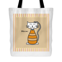 Cat Themed Tote Bag - Meow In Orange