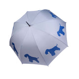 Schnauzer Umbrella (Light Blue on Silver)