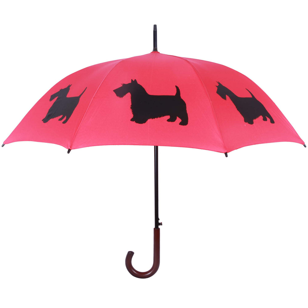 Scottish Terrier Umbrella (Black on Red)