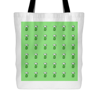 Cat Themed Tote Bag - Cats In Green On Green