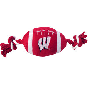 Wisconsin Badgers Plush Football Dog Toy - FurMinded